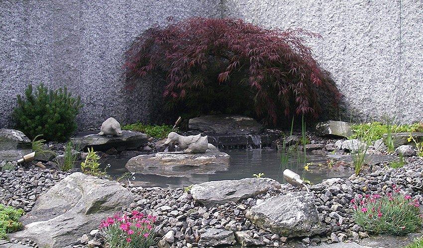 Gartenteich mit Steingarten und roter Ahorn